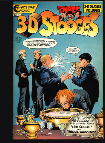 "3-D THREE STOOGES #3 Norman Maurer Slapstick screwball Adaptations of ""Hoi Polloi"" ""Uncivil Warriors"" Moe Howard, Larry Fine, Curly Howard,"
