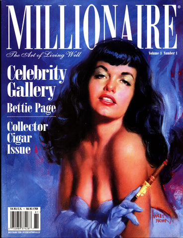 MILLIONAIRE Vol 3 #1 BETTIE PAGE Harley Brown PinUp cover, Dave Stevens,Rocketeer, Olivia De Berardinis ,Cigar,liquor, Lifestyle of the Rich