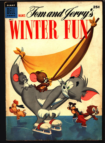 TOM and JERRY Winter Fun #3 1954 Dell Giant Comics, Hanna Barbera, Cartoons, Droopy, Barney Bear,