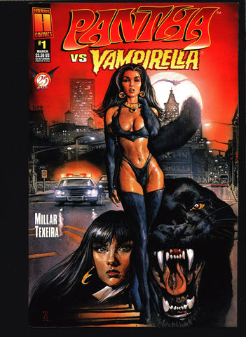 PANTHA vs VAMPIRELLA #1 Harris Comics, Lady Vampire Vampy continues from Warren Publications,