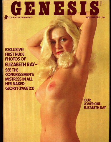 NSFW Genesis V4 #4 Nov 1976 ELIZABETH RAY & U.S. Congress Mistress Wayne Hays Mike Gravel Political Scandal Nude Pin Up Adult Magazine