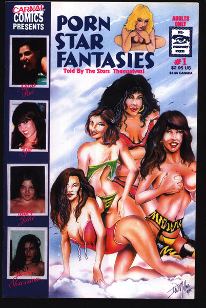 C a r n a l Comics Presents P O R N Star Fantasies #1, True Stories of Adult Film Stars, Alicia Rio,Aja,Mary Jane,Justan Obsession, Comic Book