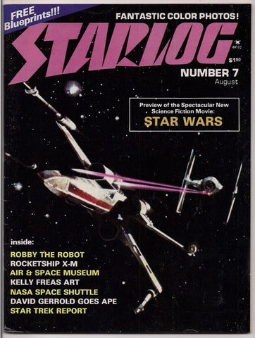 Scarce, Starlog #7, FIRST STAR WARS Magazine, Robby the Robot,Rocketship X-M,Kelly Freas,Star Trek,Science Fiction, Fantasy,George Lucas