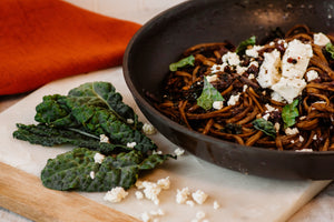 Balsamic Linguini with Caramelized Onions and Goat Cheese