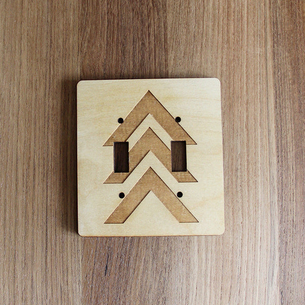 Wood Laser Cut Chevron Light Switch Plate (double switch)