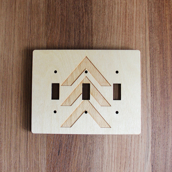 Wood Laser Cut Chevron Light Switch Plate (triple switch)