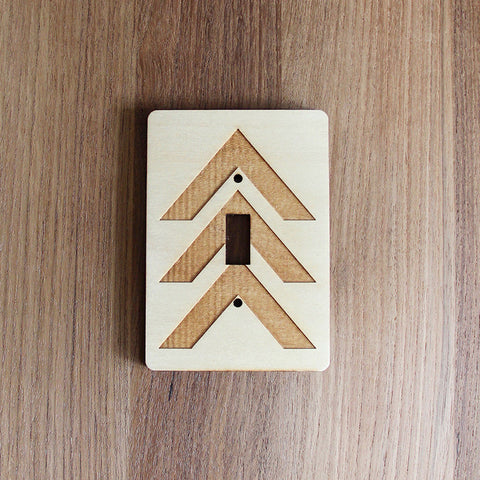 Wood Laser Cut Chevron Light Switch Plate (single switch)