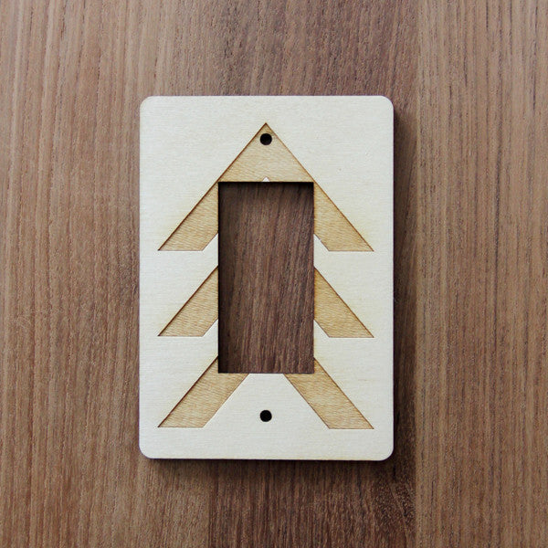Wood Laser Cut Chevron Light Switch Plate (rocker)