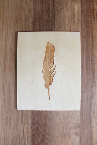Laser Cut Feather Wood Print