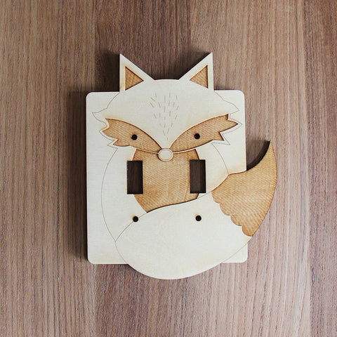 Wood Laser Cut Fox Light Switch Plate (double switch)