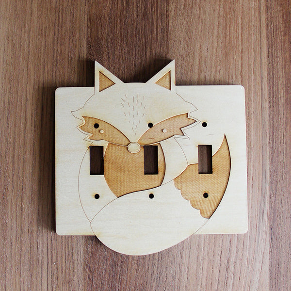Wood Laser Cut Fox Light Switch Plate (triple switch)