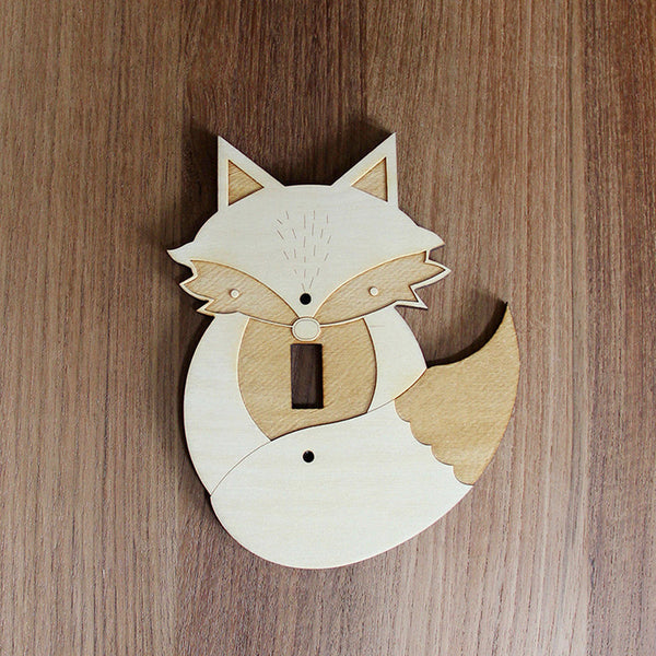 Wood Laser Cut Fox Light Switch Plate (single switch)