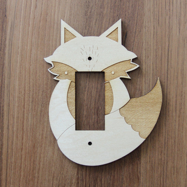 Wood Laser Cut Fox Light Switch Plate (rocker)