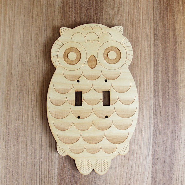 Wood Laser Cut Owl Light Switch Plate (double switch) // Large