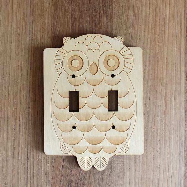 Wood Laser Cut Owl Light Switch Plate (double switch) // Small