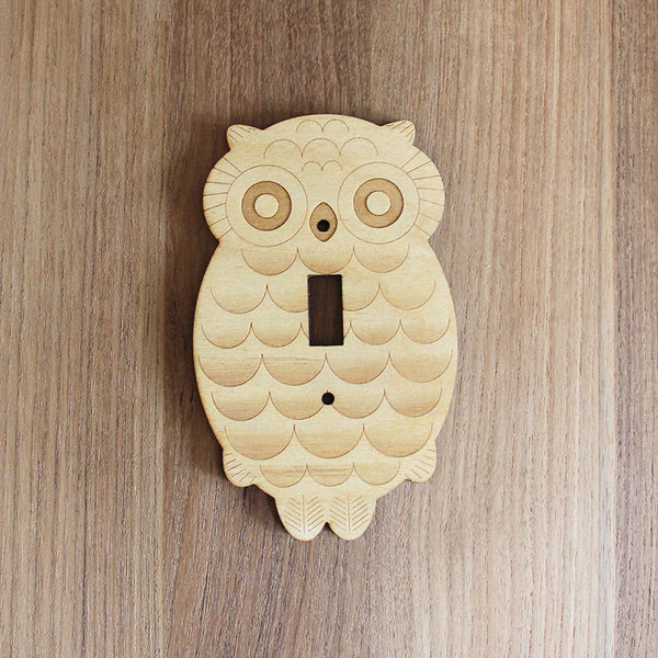 Wood Laser Cut Owl Light Switch Plate (single switch)