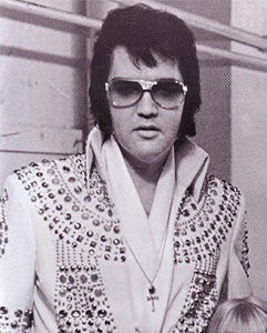 Elvis Blue Nail Jumpsuit Elvis on Tour ankh cross necklace Egyptian