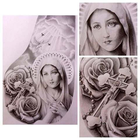 tattoo Mother Virgin Mary realist www.mariasalvador.it