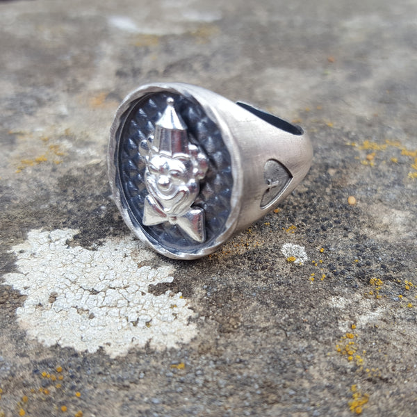 CIRCUS CLOWN chevalier silver ring #MS113AN - MARIA SALVADOR