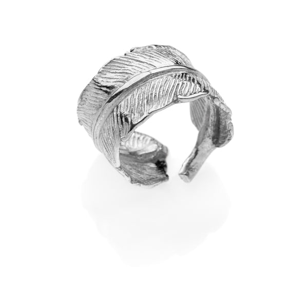 GABRIEL feather ring 925 sterling silver #MS088AN - MARIA SALVADOR