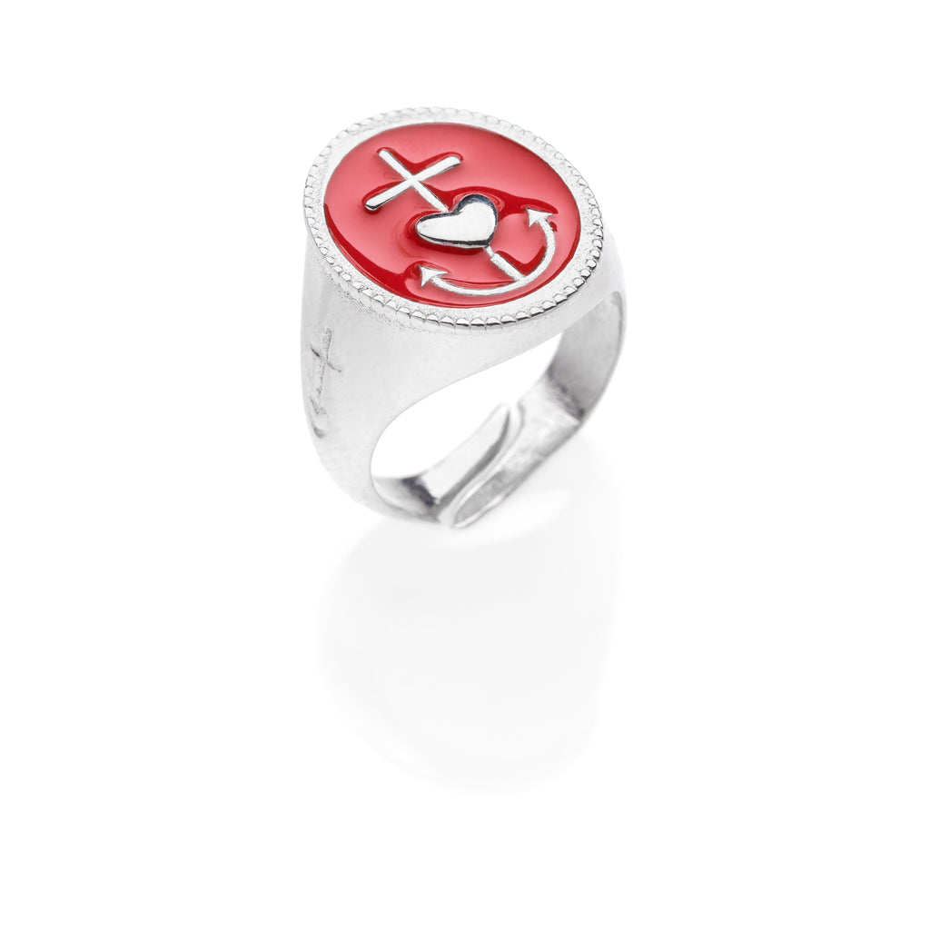 PAUL Faith hope love chevalier ring 925 sterling silver #MS097AN - MARIA SALVADOR