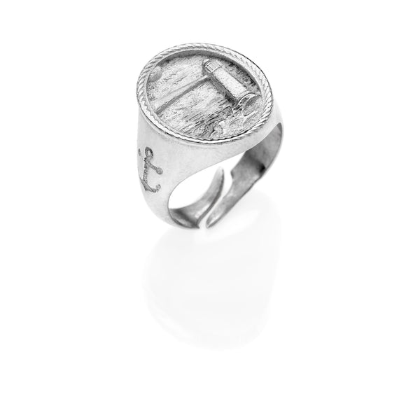 PAUL Lighthouse chevalier ring 925 sterling silver #MS093AN - MARIA SALVADOR