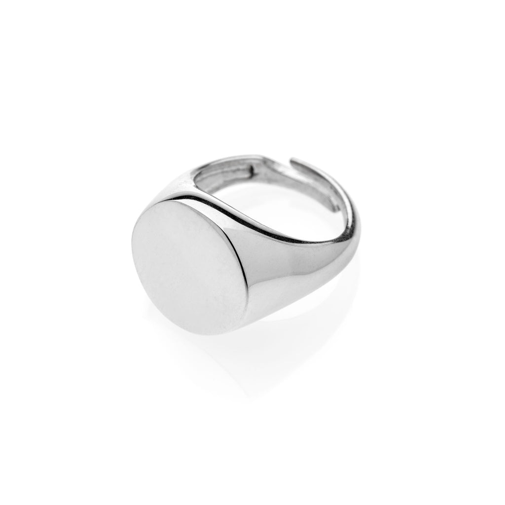 PAUL Round chevalier ring 925 sterling silver #MS092AN - MARIA SALVADOR