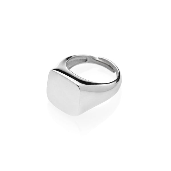 PAUL Square chevalier ring 925 sterling silver #MS091AN - MARIA SALVADOR
