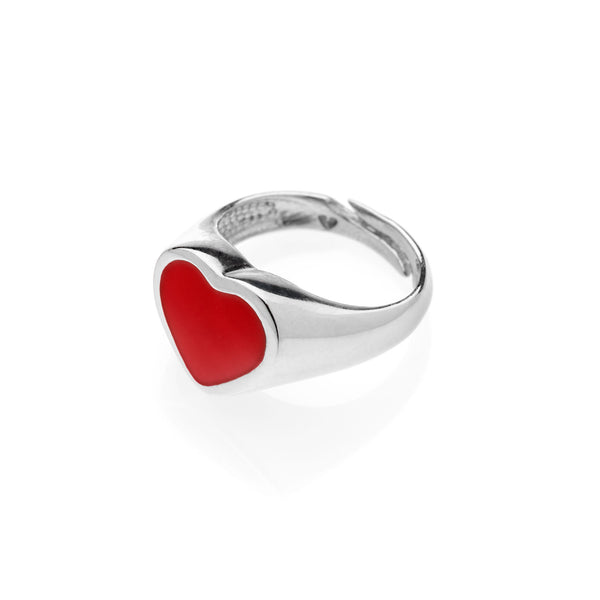 PAUL Heart chevalier ring 925 sterling silver #MS098AN - MARIA SALVADOR