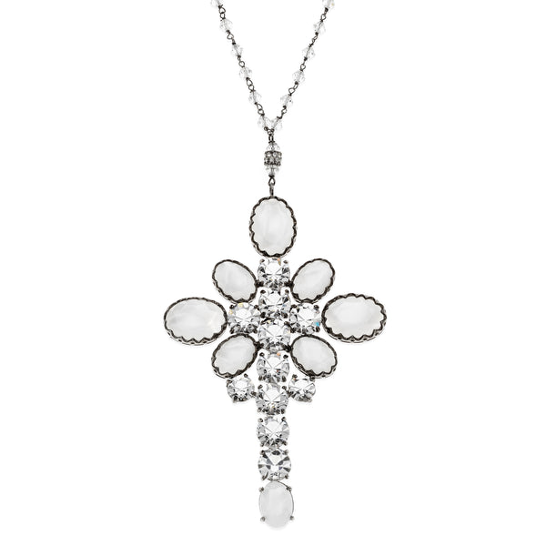 DIANA cross Swarovski Necklace #MS003CL - MARIA SALVADOR
