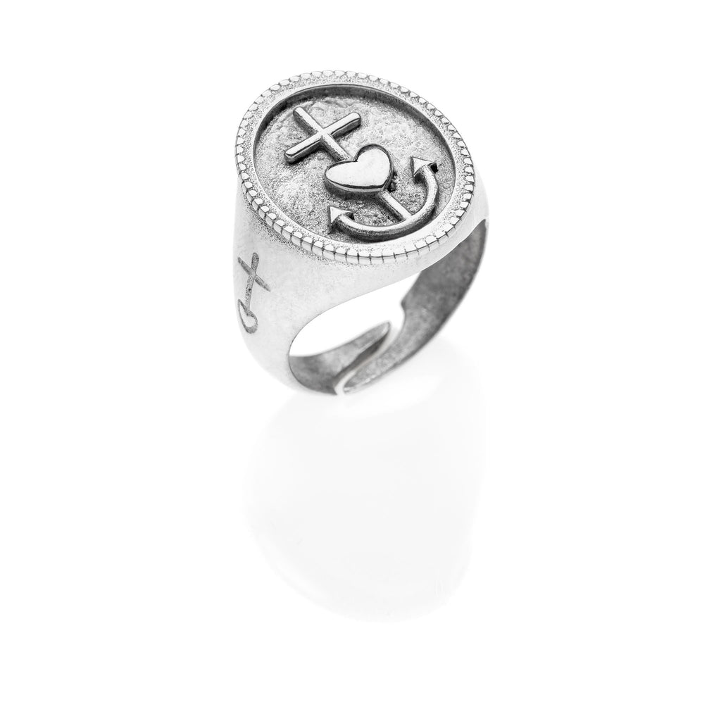 PAUL Hope Faith Charity chevalier silver ring #MS095AN - MARIA SALVADOR