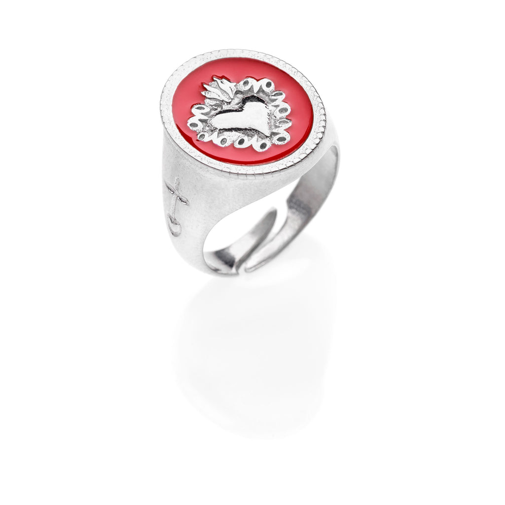 CORAZON Sacred Heart chevalier silver ring #MS094AN - MARIA SALVADOR