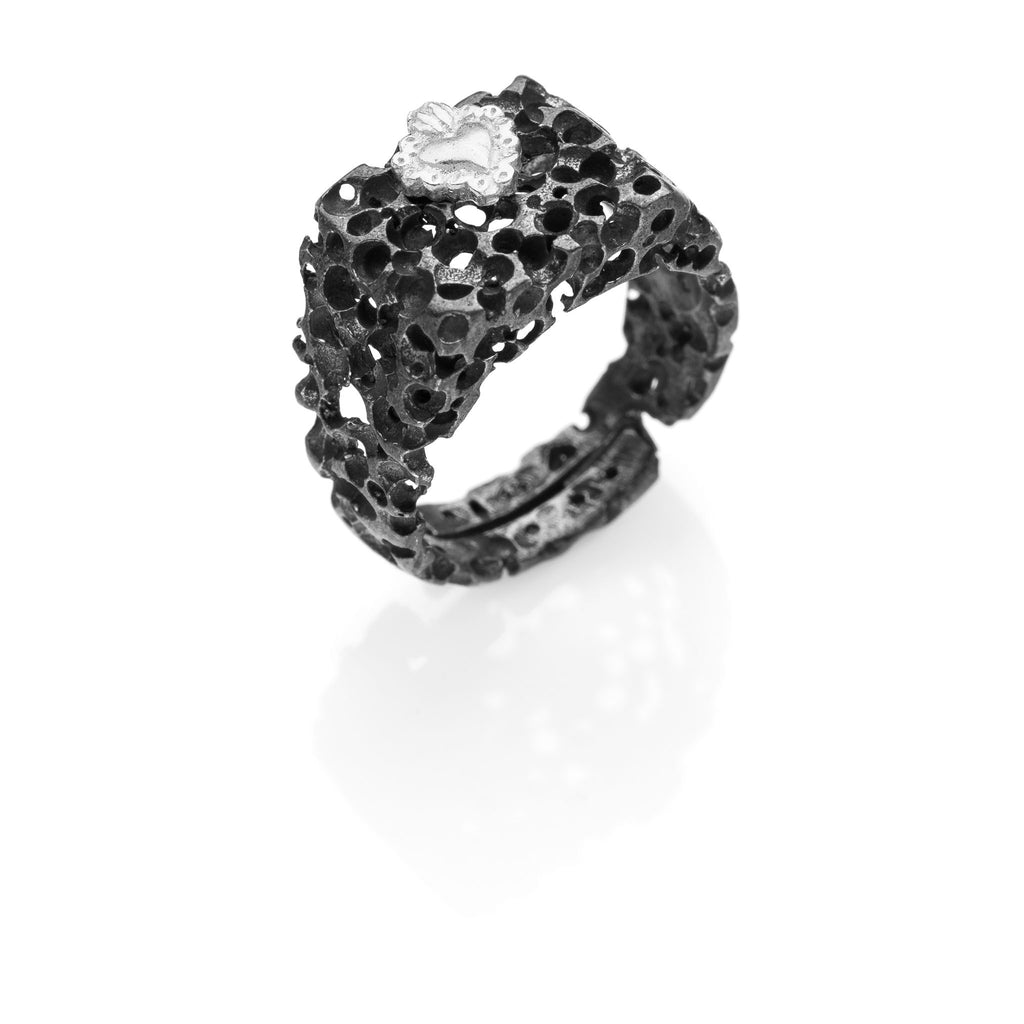 CORAZON 925 sterling silver ring black #MS083AN - MARIA SALVADOR