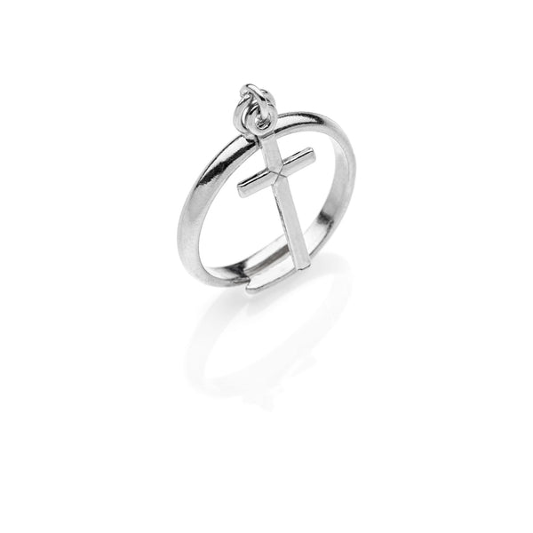 FRANCESCO Cross charm chain silver ring #MS082AN - MARIA SALVADOR