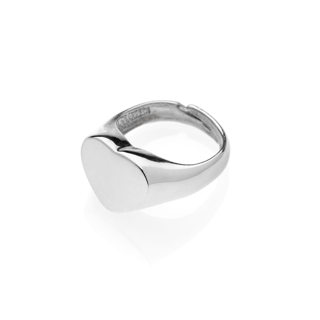 PAUL Heart Chevalier silver ring #MS089AN - MARIA SALVADOR