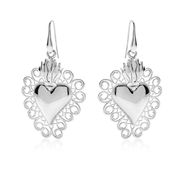 CORAZON L Sacred Heart 925 sterling silver earrings #MS040OR - MARIA SALVADOR