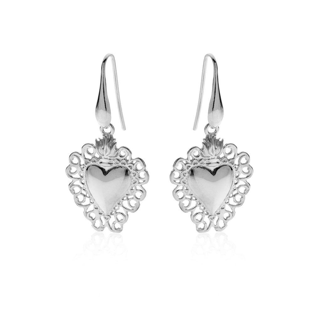 CORAZON M Sacred Heart 925 sterling silver earrings #MS041OR - MARIA SALVADOR