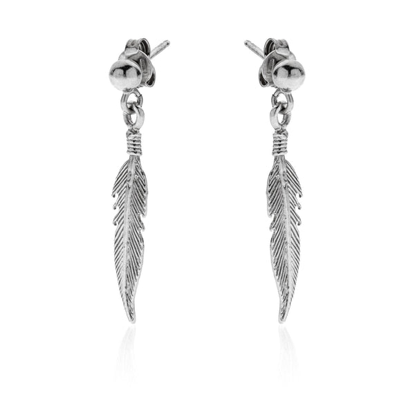 GABRIEL Pending Feathers sterling silver 925 earrings #MS044OR - MARIA SALVADOR