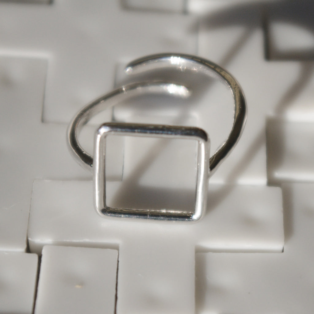 Square PITAGORA 925 sterling silver ring #MS060AN - MARIA SALVADOR