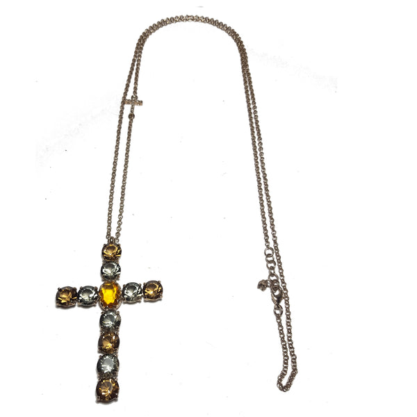 DIANA small cross Swarovski stone brass necklace #MS104CL - MARIA SALVADOR