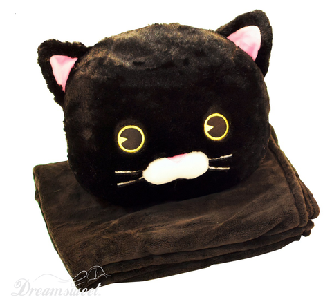 Black Cat Throw Cushion Pillow with  Youth Size Soft Black Fleece Blanket for Travel & Home - B7CT