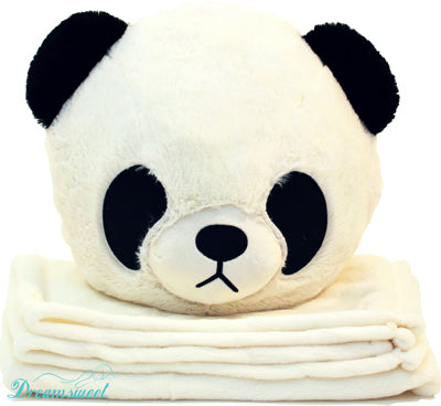 Panda Throw Cushion Pillow with  Youth Size Soft Black Fleece Blanket for Travel & Home - B7PA