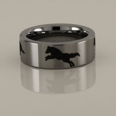 Running Wolves Tungsten Carbide Ring