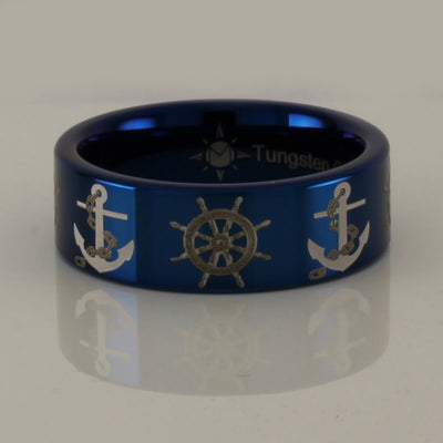 Tungsten Anchor and Boat Wheel Ring