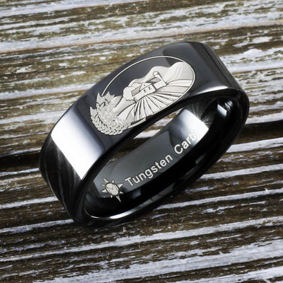 Tungsten Farm Scene Ring