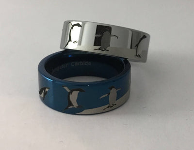 Tungsten Carbide Penguin Scene Ring