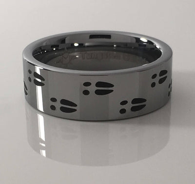 Tungsten carbide deer track 8mm ring