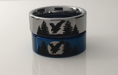 Eagle and Forest Tungsten Ring