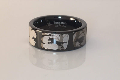Wolves Running Forest Scene Ring