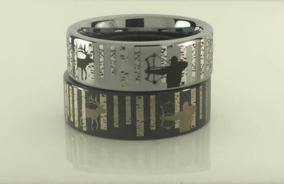 Tungsten Elk Bowhunting Ring With Birch Trees